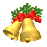 Christmas bells. Two bells with bow and fir branches Stock Photos