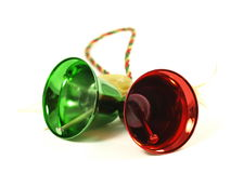 Christmas bells. Christmas red and green bells on white isolated background royalty free stock photography