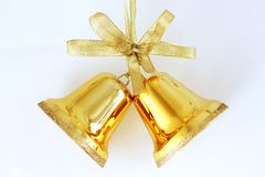 Christmas Bells. Gold bells to celebrate Christmas royalty free stock photo