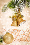 Christmas bells against lights Stock Photo