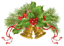 Christmas bells banner. Vector Christmas banner with traditional decoration, christmas tree branches and bells. Design element for winter sale, party invitation Stock Images