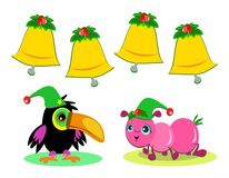Christmas Bells, Bird, and Ant Royalty Free Stock Images