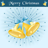 Christmas bells on blue sunburst. Christmas bells in gold with bows on a blue sunburst background decorated with stars Stock Image