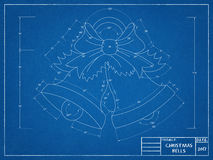 Christmas Bells - Blueprint Royalty Free Stock Image