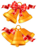 Christmas bells with bow Royalty Free Stock Photos