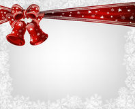 Christmas bells and bow Stock Photos