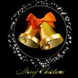 Christmas bells with bows Stock Photos