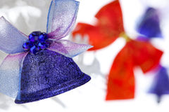 Christmas bells with bows Stock Photo
