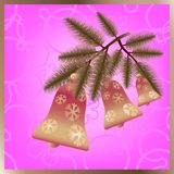 Christmas bells on branch. Stock Photos