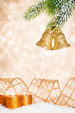 Christmas bells and candles Royalty Free Stock Photos