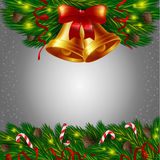 Christmas bells and candy canes. An editable vector illustration of christmas bells and a fir tree with candy canes. Format ai (CS5 Vector Illustration