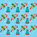 Christmas bells and candy pattern Stock Image