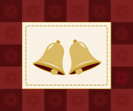 Christmas bells card. Two golden bells framed by red checkered snowflake border vector illustration