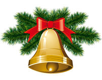 Christmas bells with christmas tree. Vector christmas bells with christmas tree decorations Stock Image