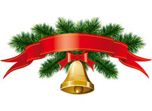 Christmas bells with christmas tree Royalty Free Stock Photo