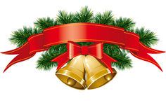 Christmas bells with christmas tree. Vector christmas bells with christmas tree decorations Royalty Free Stock Photography
