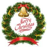 Christmas Bells with Christmas Tree Stock Image