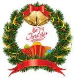 Christmas Bells with Christmas Tree Stock Photo