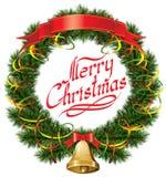 Christmas Bells with Christmas Tree Stock Photography
