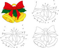 Christmas bells. Coloring book and dot to dot game for kids Royalty Free Stock Photography
