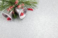 Christmas bells decoration with festive background Stock Image