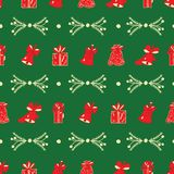 Christmas bells, gifts, branches green pattern. stock photo