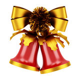 Christmas bells with golden bow isolated on white Stock Images
