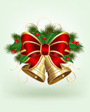 Christmas bells on green background. Christmas bells with holly and bow on green background, illustration Stock Photography