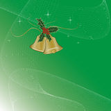 Christmas bells. Green background for Christmas card Royalty Free Stock Image