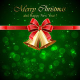 Christmas bells on green background. Green background with golden Christmas bells and red bow, illustration Royalty Free Stock Photo