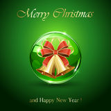 Christmas bells in green sphere Royalty Free Stock Image