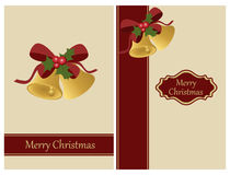 Christmas bells greeting card. Set of two vertical Christmas bells greeting cards isolated on white background.EPS file available Stock Image