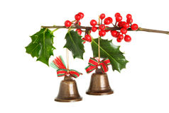 Christmas bells and holly Royalty Free Stock Photo