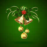 Christmas bells, holly berries and baubles Stock Images