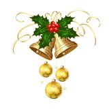Christmas bells and holly berries Royalty Free Stock Photo
