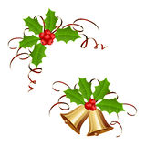 Christmas bells and holly berry with tinsel. Golden Christmas bells and holly berry with tinsel isolated on white background, illustration stock illustration