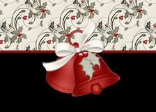 Christmas Bells with Holly on a Black Background. This was designed with a scrolls and holly leaves and berries topping a black background. It is designed royalty free illustration