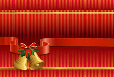 Christmas bells, holly, bow and ribbon Stock Photo