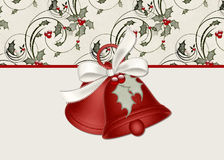 Christmas Bells with Holly on a Cream Background. Designed with red bells and a cream ribbon with holly berries and leaves. The design is placed over a holly stock illustration
