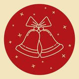 Christmas bells icon in thin line style Royalty Free Stock Photography