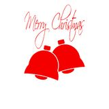 Christmas bells. Merry Christmas lettering. Flat design style. Made in vector illustration Stock Images