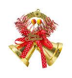 Christmas bells with Merry Christmas text on white background Stock Photo