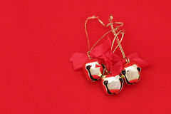 Christmas Bells On Red 1 Stock Images