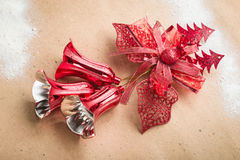 Christmas bells on paper background Stock Photography