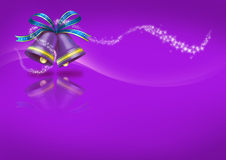 Christmas Bells on purple background Stock Photos