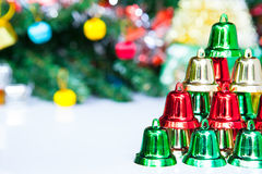 Christmas bells pyramid on decoration background Royalty Free Stock Photo