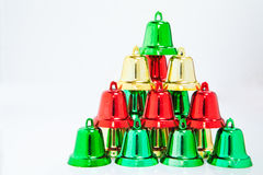 Christmas bells pyramid  on white background with clippi Stock Photography
