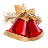 Christmas Bells Red. Fine Christmas handbells. Excellent addition for your congratulatory card stock illustration