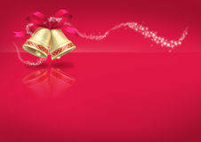 Christmas Bells on red background Stock Photo
