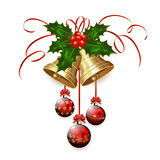 Christmas bells and red balls Stock Image